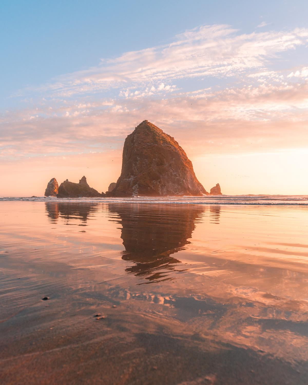 Reflections in front of Haystack Rock