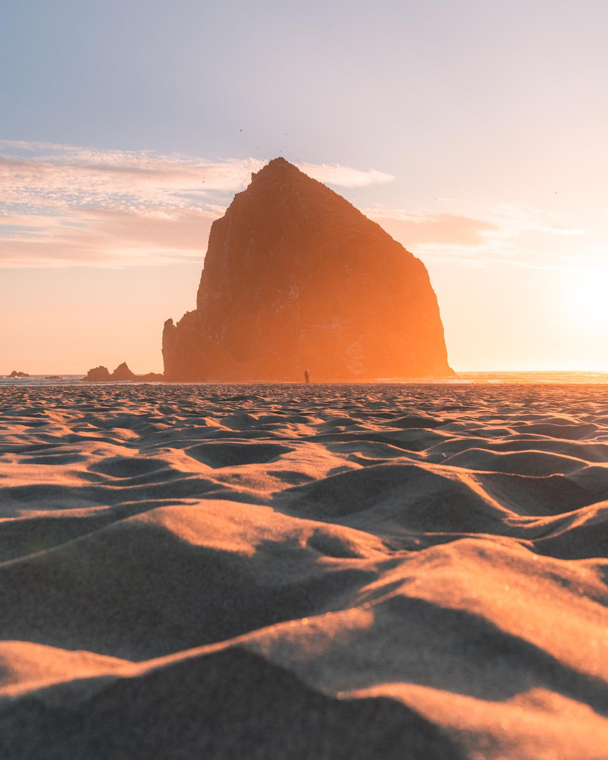 Sand foreground in front of Haystack Rock