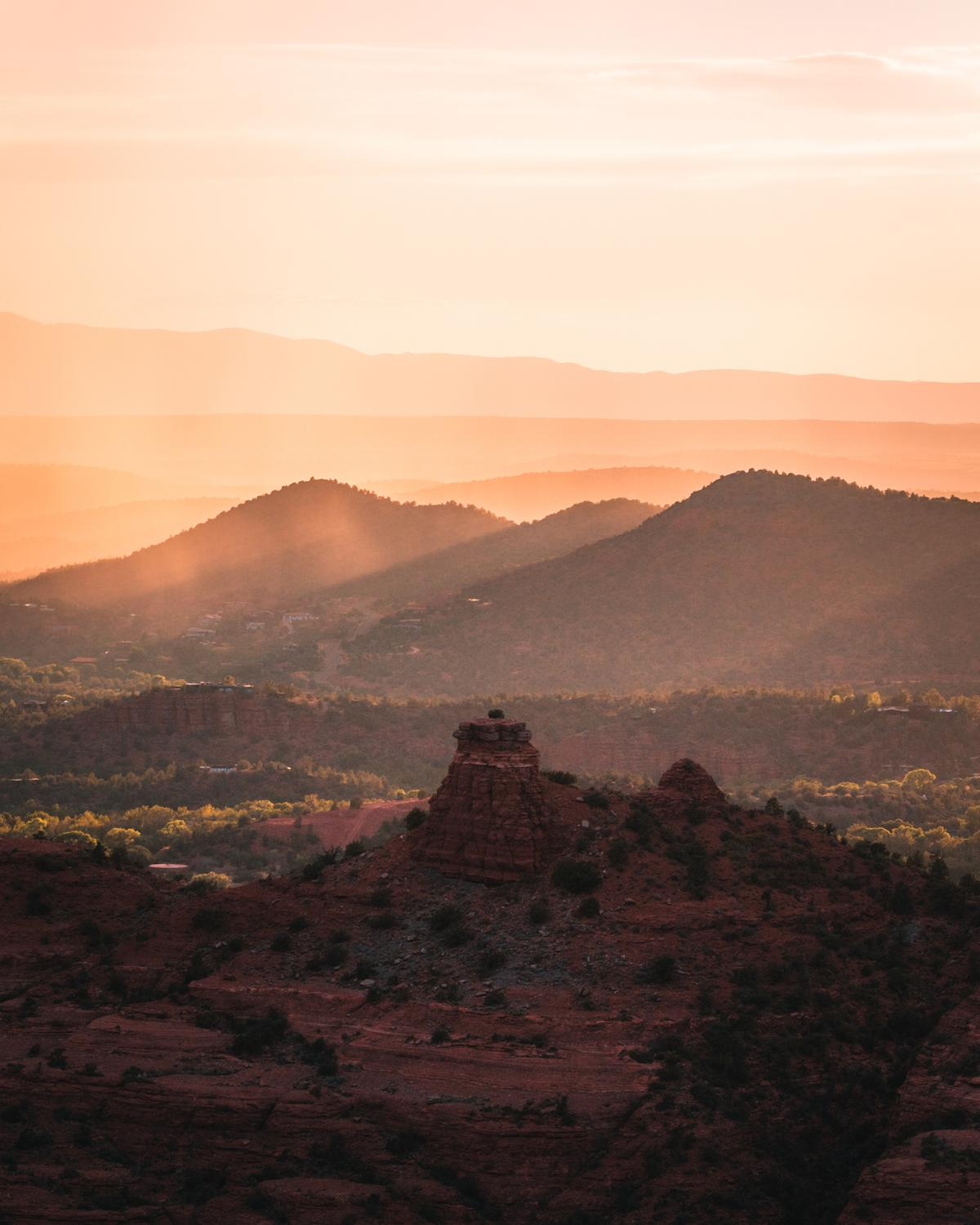 Shortly after sunset glow off the walls of Cathedral Rock